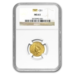 $1 Indian Head Gold - Type 2 - MS-61 NGC or PCGS